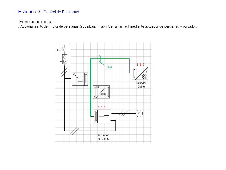 Práctica 3 Control de Persianas Funcionamiento:.-Accionamiento del motor de persianas (subir/bajar – abrir/cerrar lamas) mediante actuador de persiana