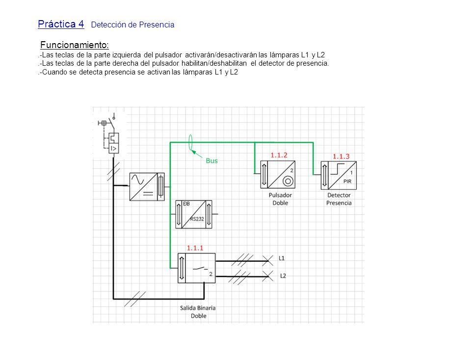 Práctica 4 Detección de Presencia Funcionamiento:.-Las teclas de la parte izquierda del pulsador activarán/desactivarán las lámparas L1 y L2.-Las tecl