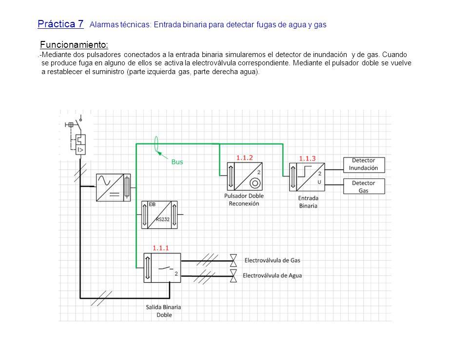 Práctica 7 Alarmas técnicas: Entrada binaria para detectar fugas de agua y gas Funcionamiento:.-Mediante dos pulsadores conectados a la entrada binari