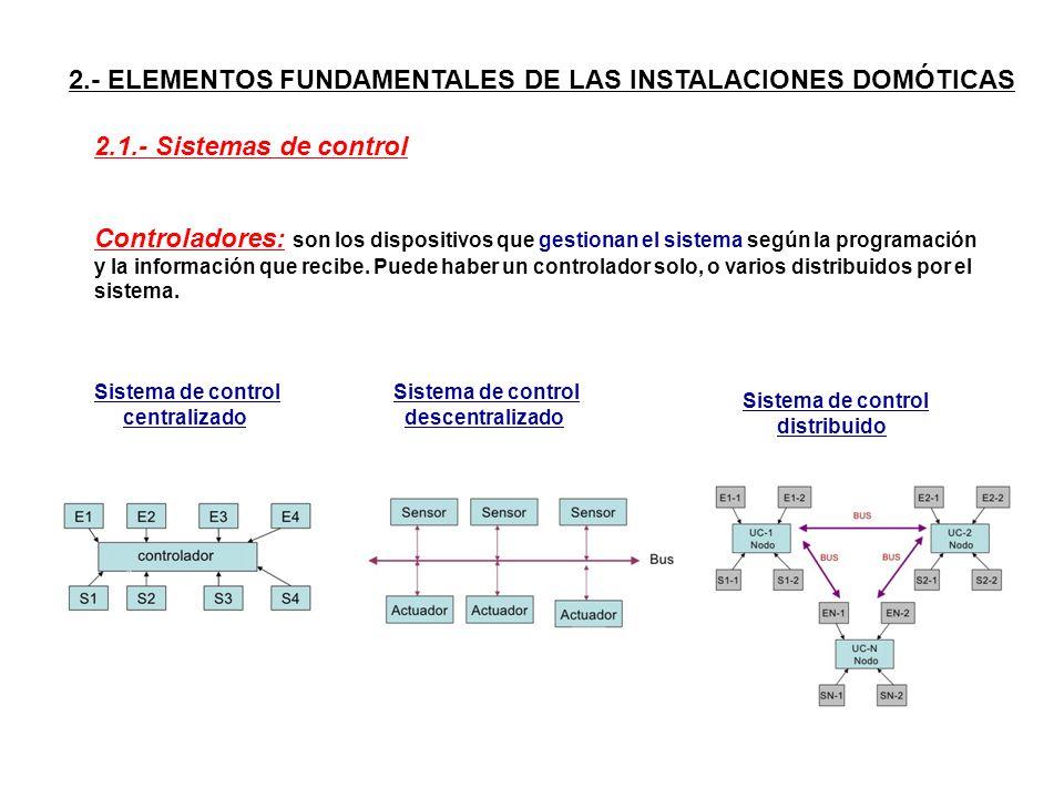 2.- ELEMENTOS FUNDAMENTALES DE LAS INSTALACIONES DOMÓTICAS Controladores: son los dispositivos que gestionan el sistema según la programación y la inf