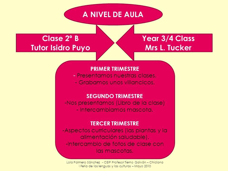 Lola Palmero Sánchez - CEIP Profesor Tierno Galván – Chiclana I Feria de las lenguas y las culturas – Mayo 2010 Clase 2º B Tutor Isidro Puyo Year 3/4