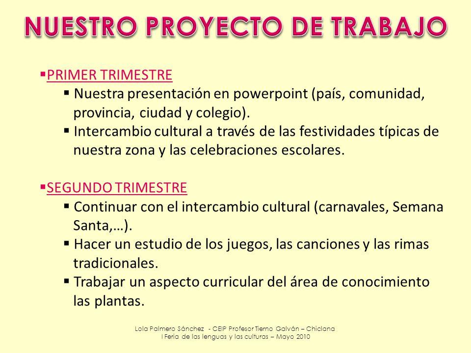 Lola Palmero Sánchez - CEIP Profesor Tierno Galván – Chiclana I Feria de las lenguas y las culturas – Mayo 2010 PRIMER TRIMESTRE Nuestra presentación