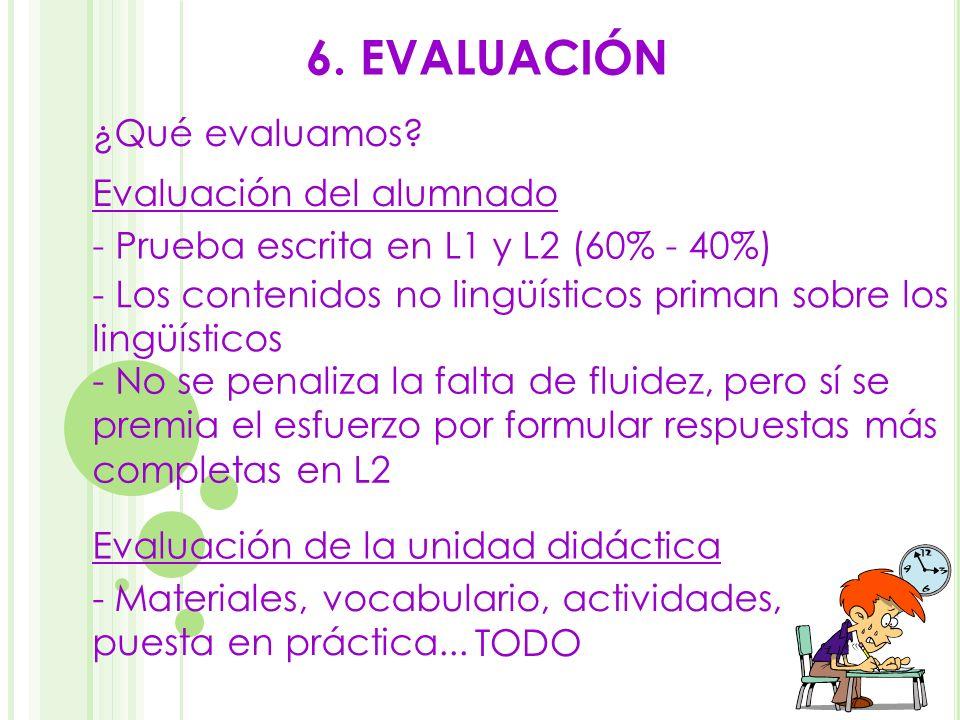 6. EVALUACIÓN - Materiales, vocabulario, actividades, puesta en práctica... Evaluación del alumnado - Prueba escrita en L1 y L2 (60% - 40%) - Los cont