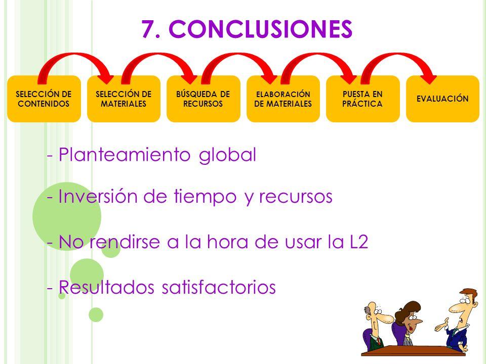 7. CONCLUSIONES - Inversión de tiempo y recursos - Planteamiento global - No rendirse a la hora de usar la L2 - Resultados satisfactorios SELECCIÓN DE