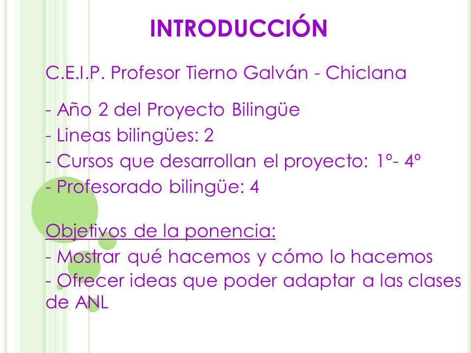 INTRODUCCIÓN - Mostrar qué hacemos y cómo lo hacemos - Ofrecer ideas que poder adaptar a las clases de ANL C.E.I.P. Profesor Tierno Galván - Chiclana