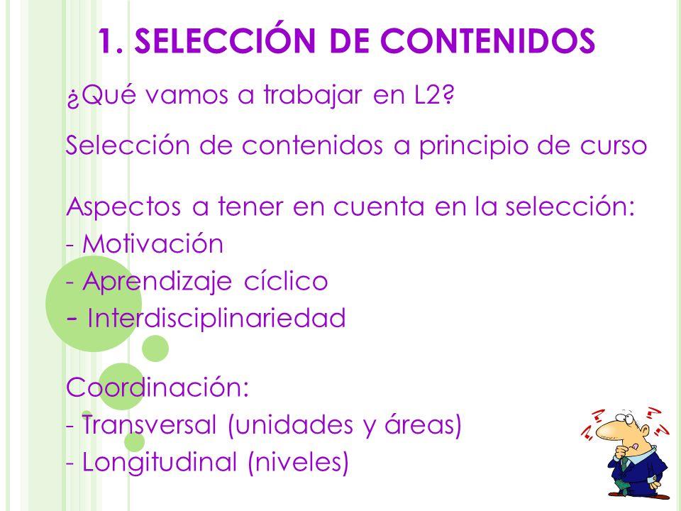 1. SELECCIÓN DE CONTENIDOS - Motivación - Aprendizaje cíclico - Interdisciplinariedad ¿Qué vamos a trabajar en L2? Coordinación: - Transversal (unidad