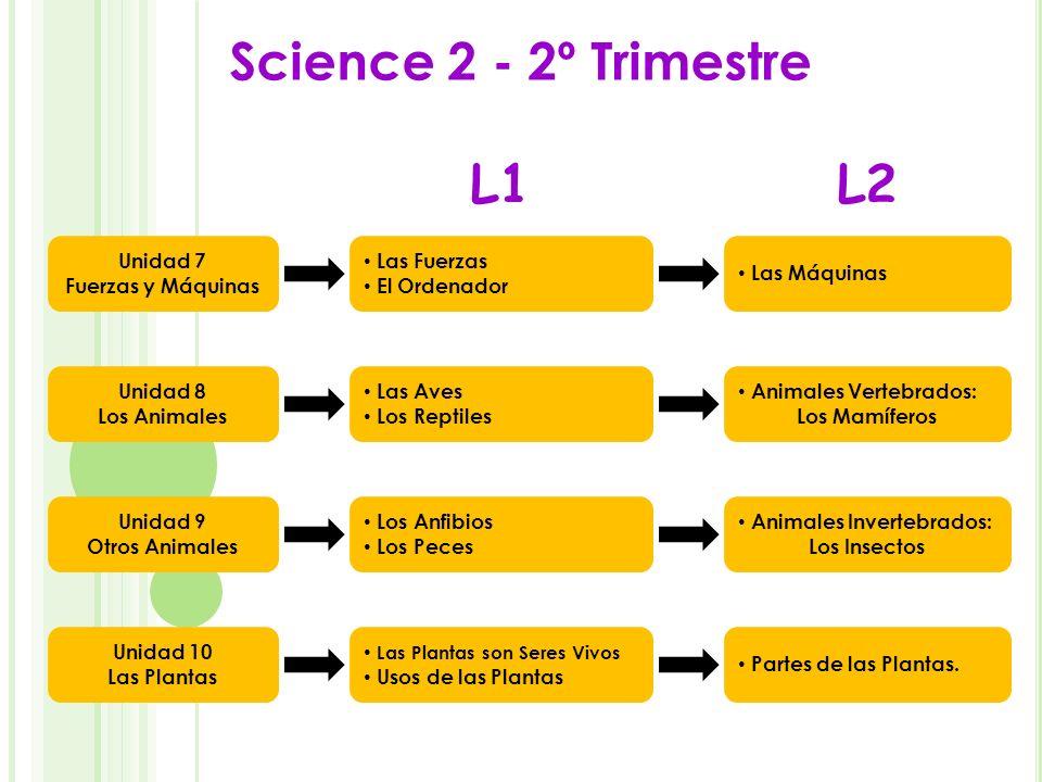 Science 2 - 2º Trimestre Unidad 7 Fuerzas y Máquinas Unidad 8 Los Animales Unidad 9 Otros Animales Unidad 10 Las Plantas Las Fuerzas El Ordenador Las
