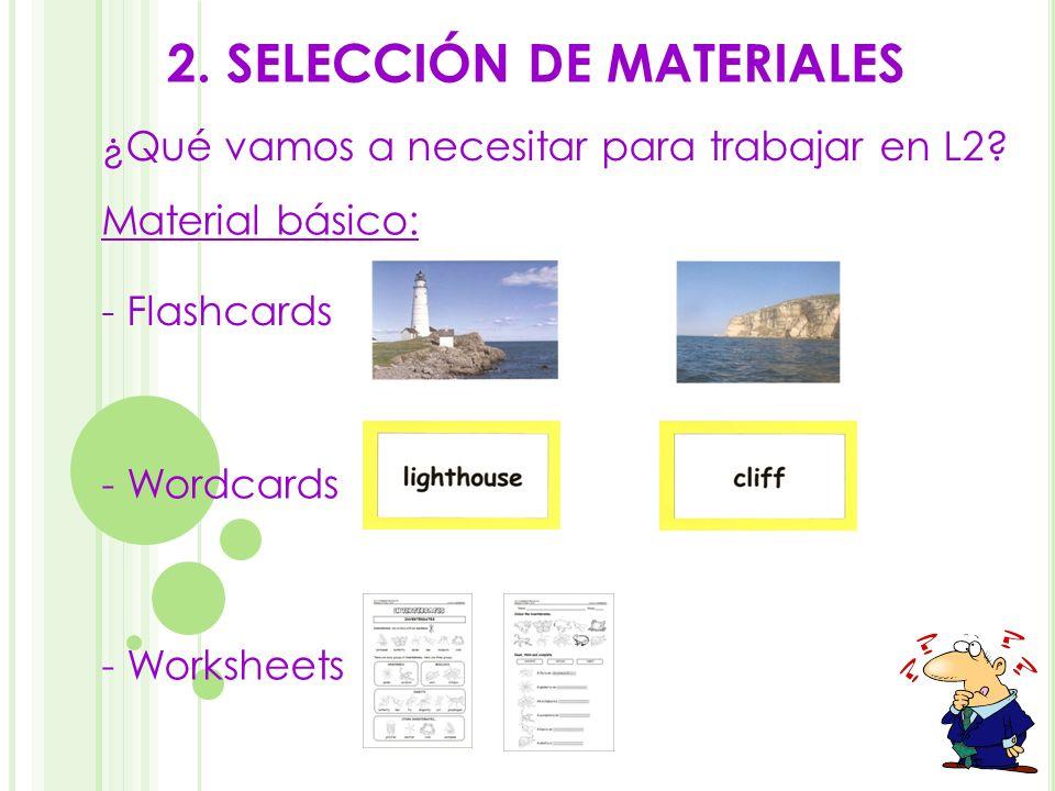 2. SELECCIÓN DE MATERIALES - Worksheets - Flashcards - Wordcards Material básico: ¿Qué vamos a necesitar para trabajar en L2?