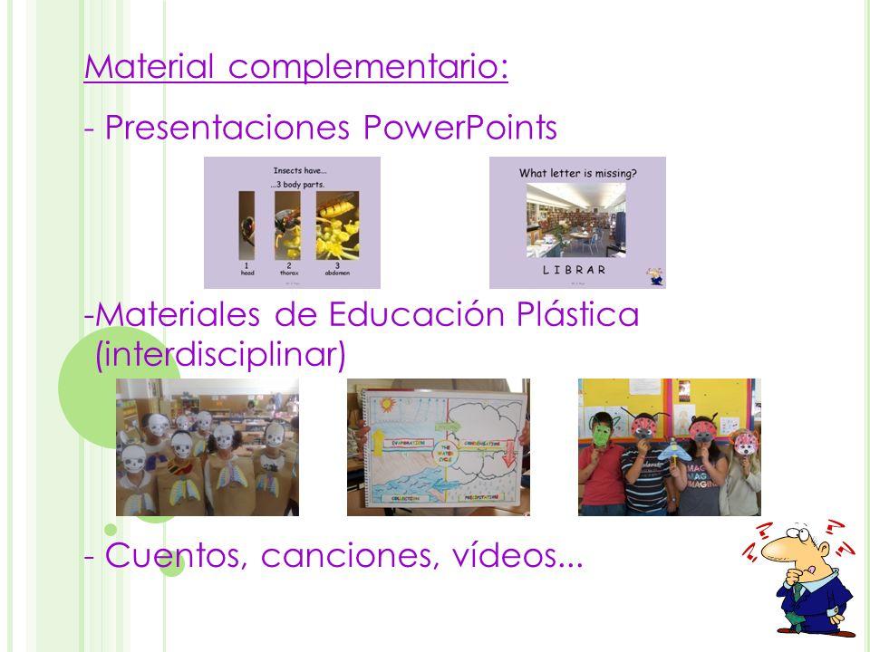 - Presentaciones PowerPoints -Materiales de Educación Plástica (interdisciplinar) Material complementario: - Cuentos, canciones, vídeos...