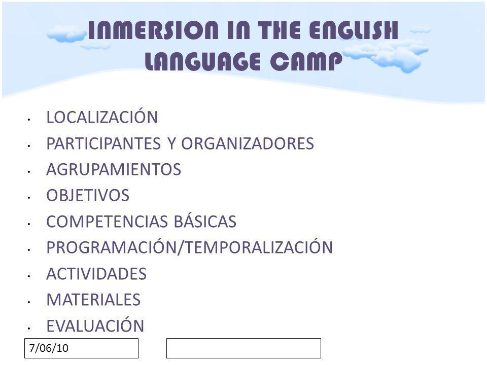 7/06/10 INMERSION IN THE ENGLISH LANGUAGE CAMP ACTIVIDADES VISUALIZAR LOS CONTENIDOS A TRABAJAR A TRAVÉS DE PRESENTACIONES EN POWER POINT.