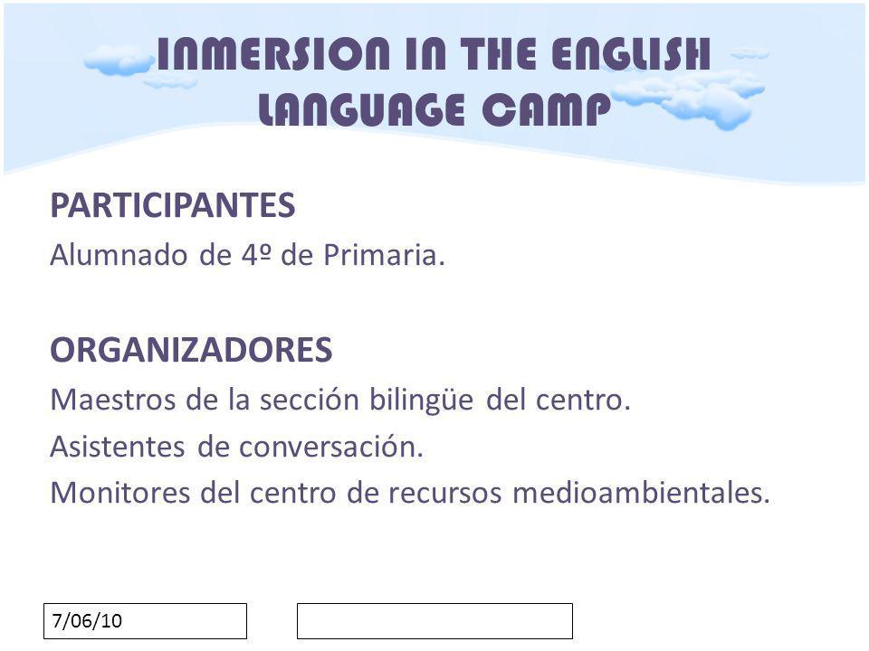 7/06/10 INMERSION IN THE ENGLISH LANGUAGE CAMP AGRUPAMIENTOS Tres modalidades: A) GRAN GRUPO: PRESENTACIONES (todos los niños) A) GRUPO MEDIO: ACTIVIDADES DEPORTIVAS ( 2 grupos) A) GRUPOS PEQUEÑOS: TALLERES MATINALES (3 grupos)