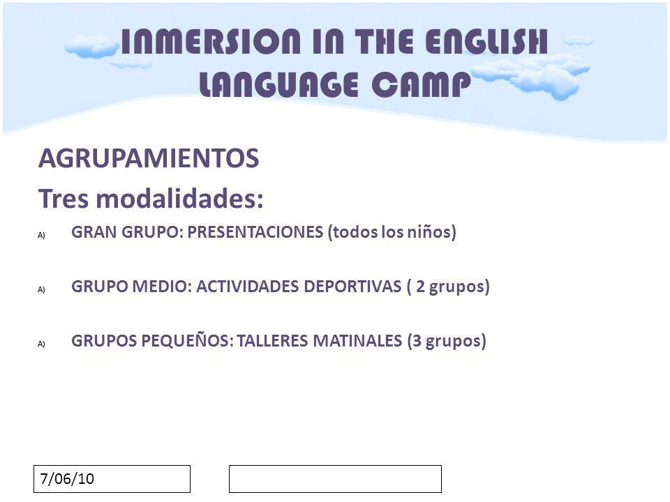 7/06/10 INMERSION IN THE ENGLISH LANGUAGE CAMP OBJETIVOS ORDEN de 23 de noviembre de 2009 Consolidar el aprendizaje de la lengua inglesa, desarrollando aspectos prácticos de esta lengua.