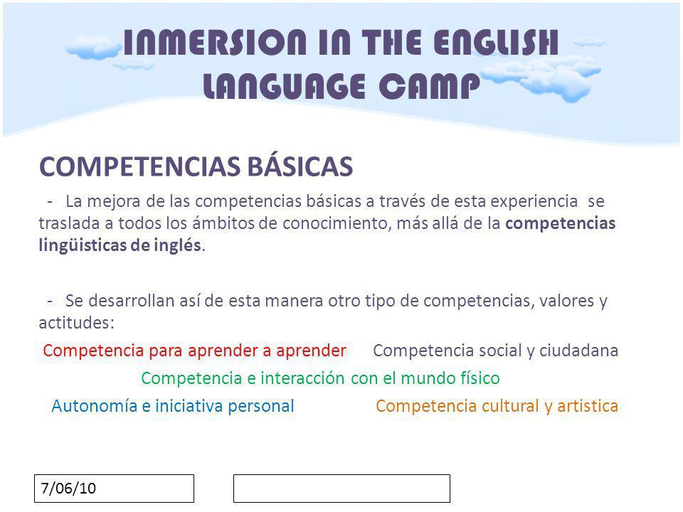 7/06/10 INMERSION IN THE ENGLISH LANGUAGE CAMP PROGRAMACIÓN Y TEMPORALIZACIÓN Dos días lectivos: 5 y 6 de abril de2010 Monday, 5th April 2010 09:00 We meet at school 09:30 We leave the school to go to the C.R.A.