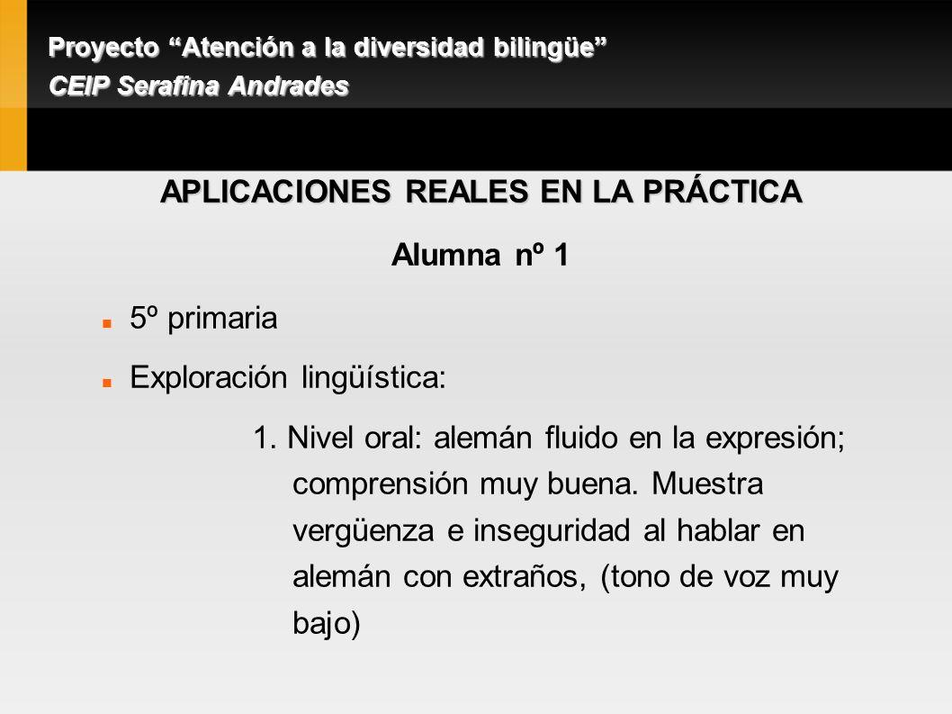 APLICACIONES REALES EN LA PRÁCTICA Alumna nº 1 5º primaria Exploración lingüística: 1.
