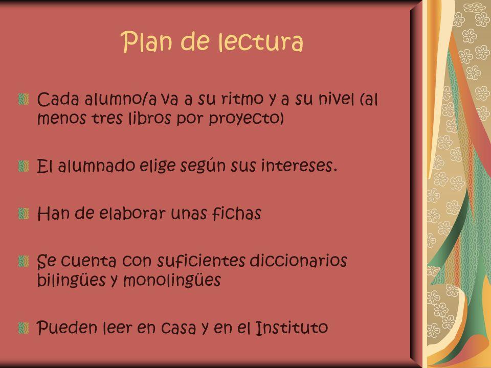 Plan de lectura Cada alumno/a va a su ritmo y a su nivel (al menos tres libros por proyecto) El alumnado elige según sus intereses. Han de elaborar un
