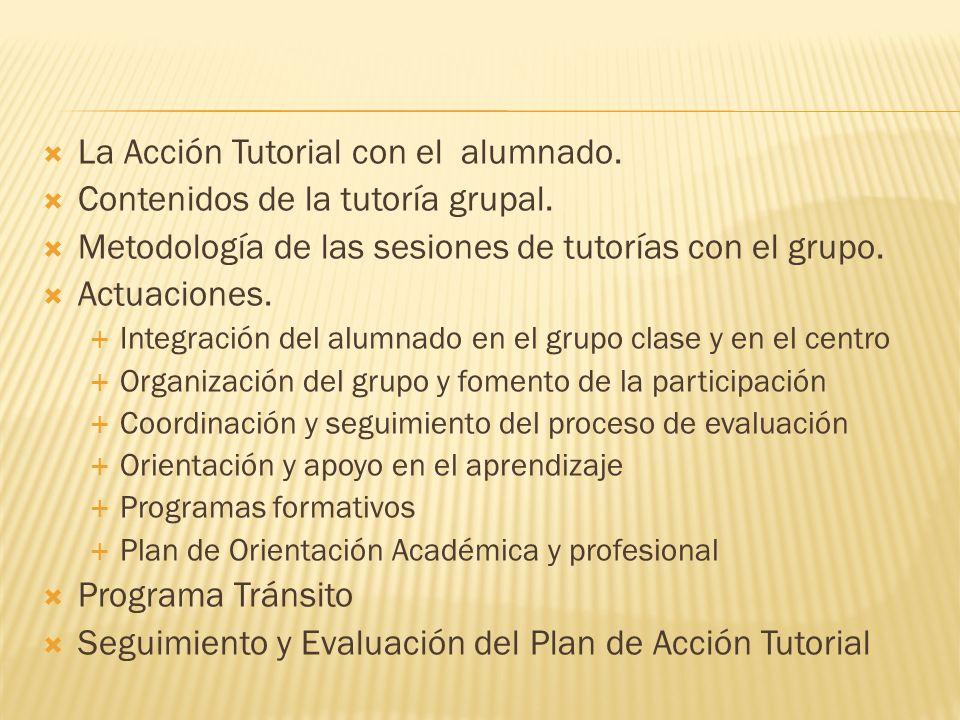 Introducción. Objetivos de la Orientación y Acción Tutorial Coordinación del Plan de Acción Tutorial. Funciones y responsabilidades respecto a la acci