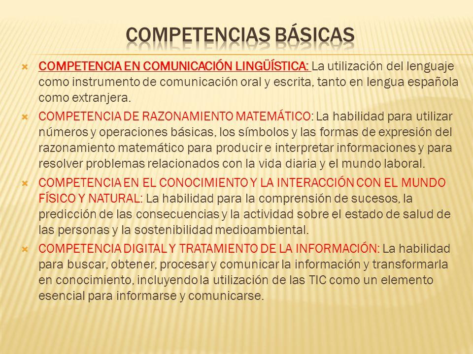 COMPETENCIA EN COMUNICACIÓN LINGÜÍSTICA: La utilización del lenguaje como instrumento de comunicación oral y escrita, tanto en lengua española como extranjera.