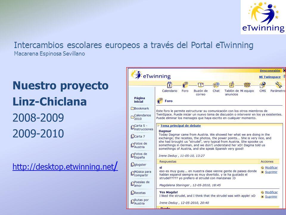 Intercambios escolares europeos a través del Portal eTwinning Macarena Espinosa Sevillano Nuestro proyecto Linz-Chiclana 2008-2009 2009-2010 http://desktop.etwinning.net /