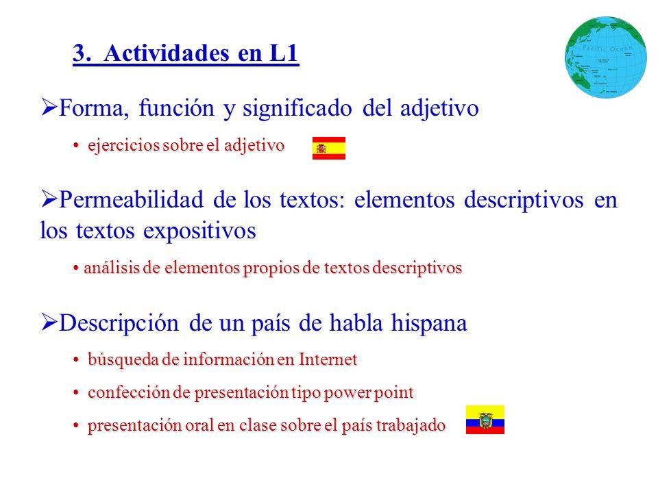 3. Actividades en L1 Forma, función y significado del adjetivo ejercicios sobre el adjetivo ejercicios sobre el adjetivo Permeabilidad de los textos: