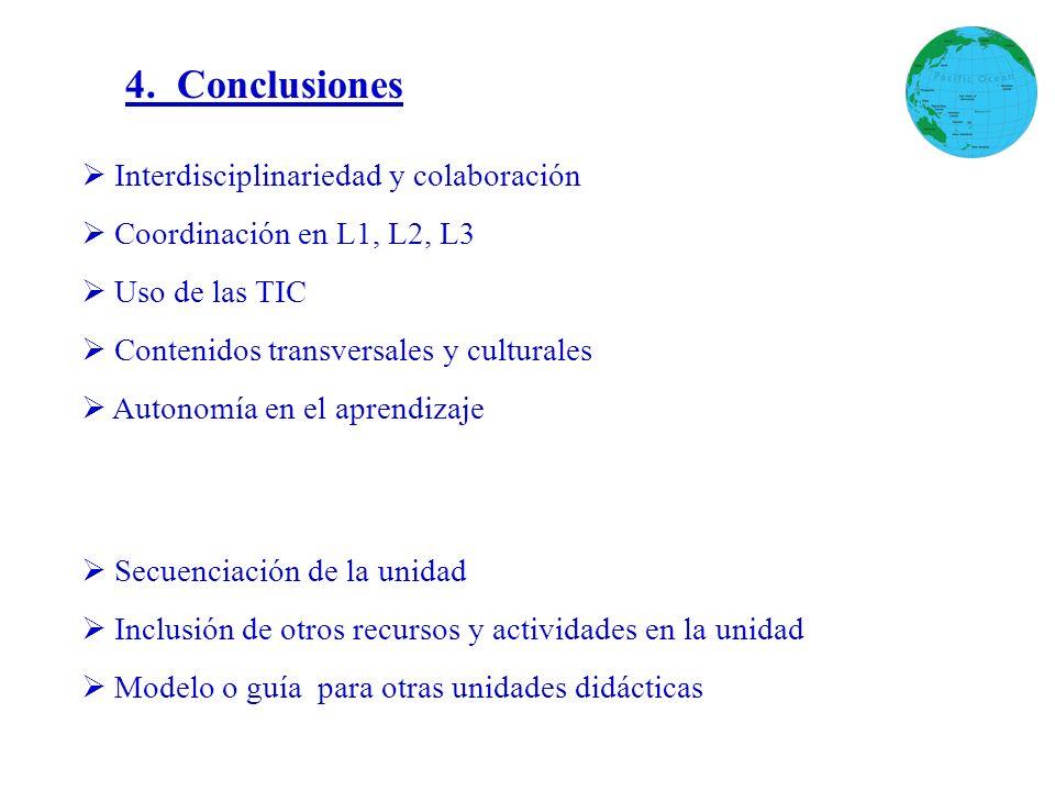 4. Conclusiones Interdisciplinariedad y colaboración Coordinación en L1, L2, L3 Uso de las TIC Contenidos transversales y culturales Autonomía en el a