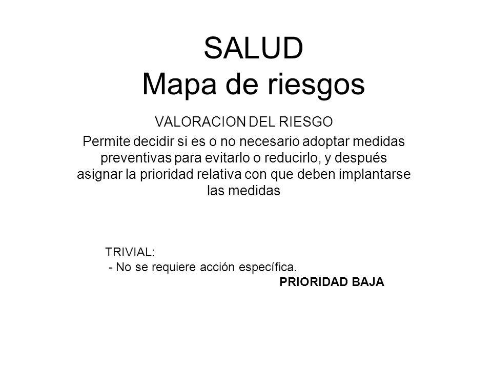 SALUD Mapa de riesgos VALORACION DEL RIESGO Permite decidir si es o no necesario adoptar medidas preventivas para evitarlo o reducirlo, y después asig