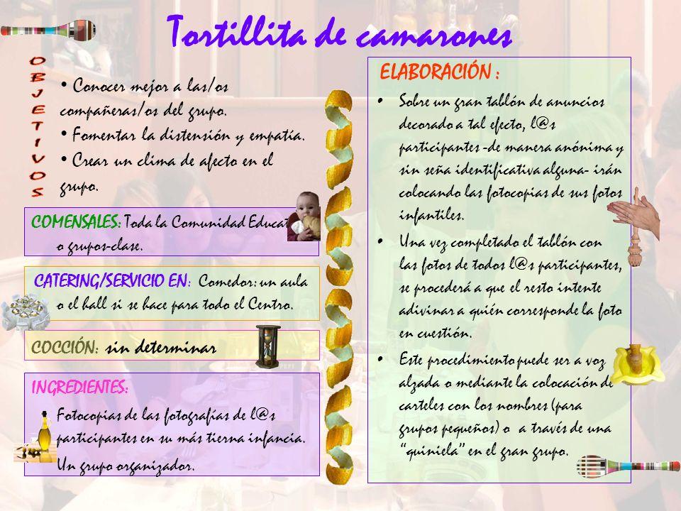 Tortillita de camarones ELABORACIÓN : Sobre un gran tablón de anuncios decorado a tal efecto, l@s participantes -de manera anónima y sin seña identifi