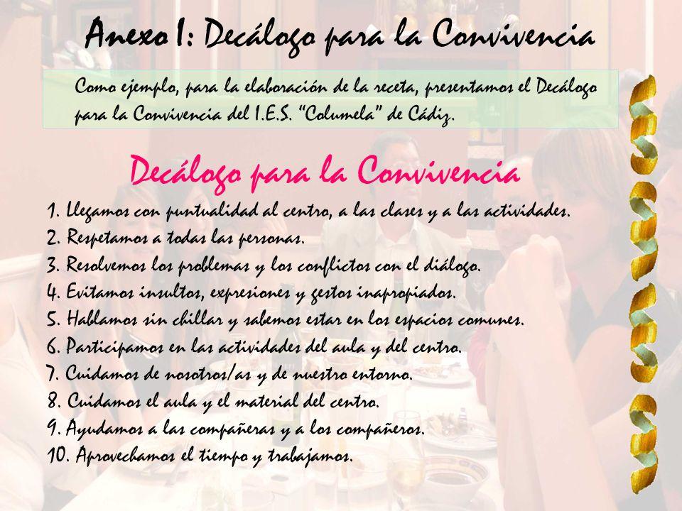 Anexo I: Decálogo para la Convivencia Como ejemplo, para la elaboración de la receta, presentamos el Decálogo para la Convivencia del I.E.S. Columela