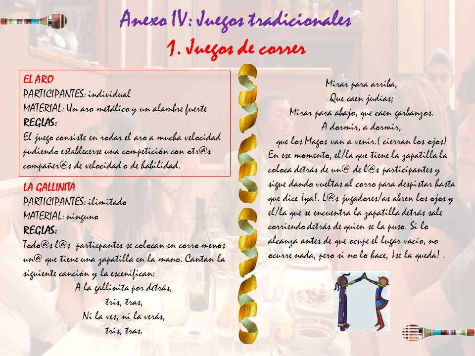 Anexo IV: Juegos tradicionales 1. Juegos de correr EL ARO PARTICIPANTES: individual MATERIAL: Un aro metálico y un alambre fuerte REGLAS: El juego con