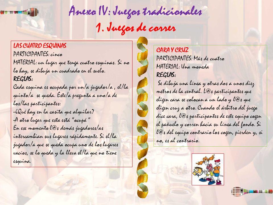 Anexo IV: Juegos tradicionales 1. Juegos de correr LAS CUATRO ESQUINAS PARTICIPANTES: cinco MATERIAL: un lugar que tenga cuatro esquinas. Si no lo hay