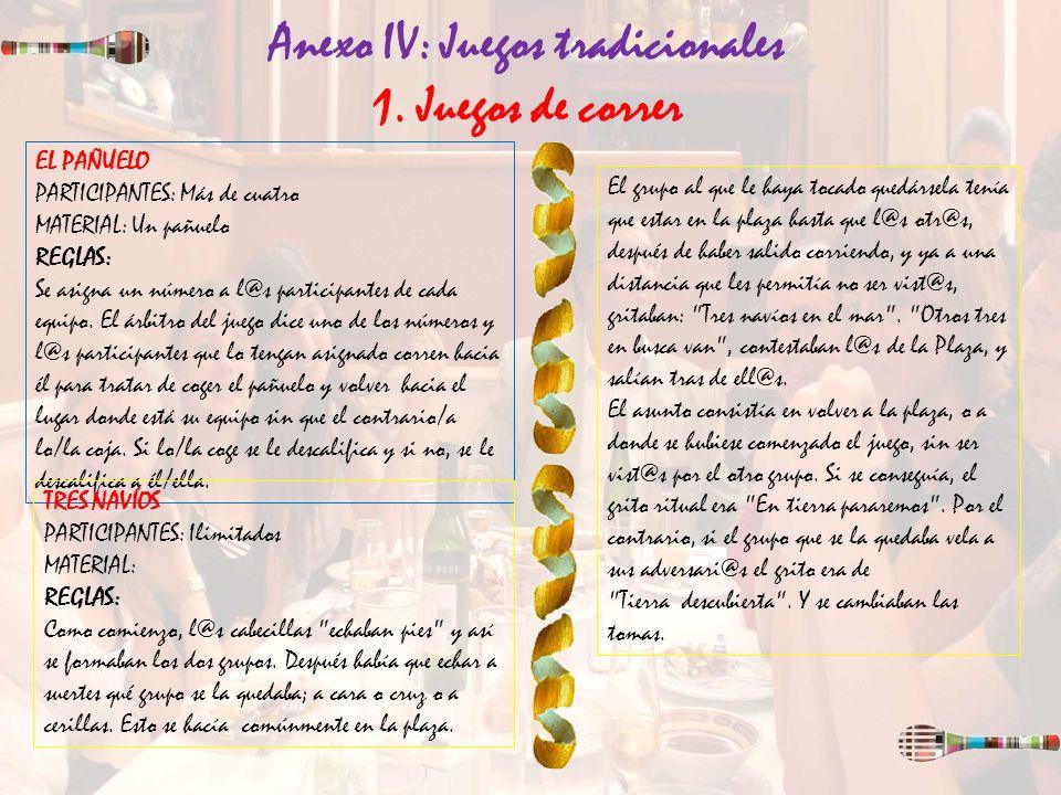 Anexo IV: Juegos tradicionales 1. Juegos de correr EL PAÑUELO PARTICIPANTES: Más de cuatro MATERIAL: Un pañuelo REGLAS: Se asigna un número a l@s part