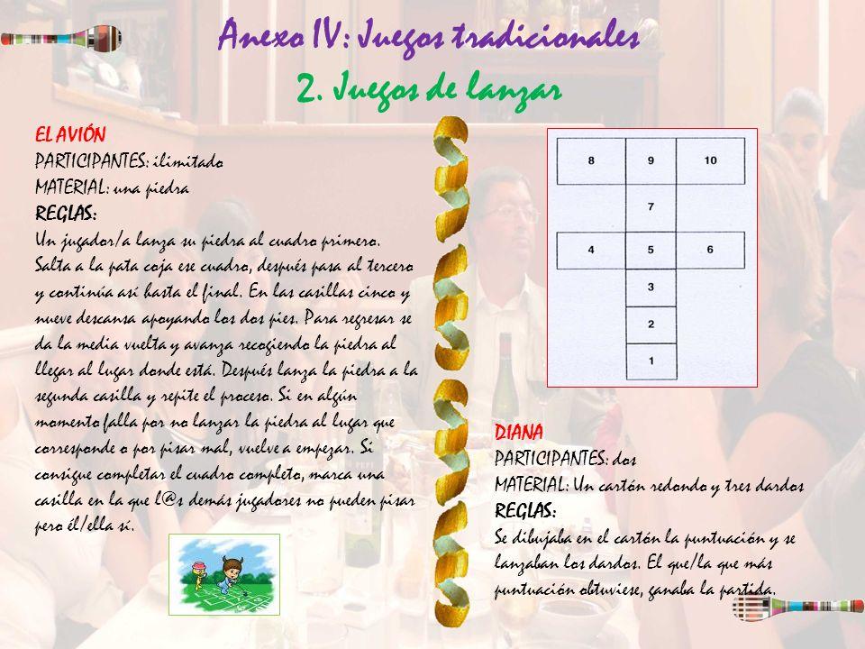 Anexo IV: Juegos tradicionales 2. Juegos de lanzar DIANA PARTICIPANTES: dos MATERIAL: Un cartón redondo y tres dardos REGLAS: Se dibujaba en el cartón