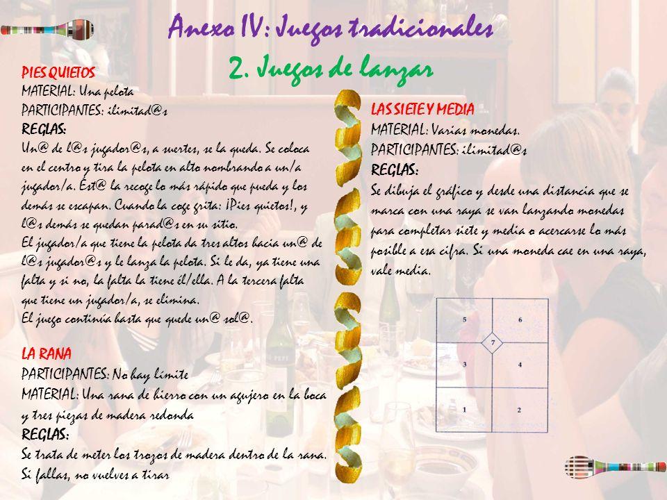 Anexo IV: Juegos tradicionales 2. Juegos de lanzar PIES QUIETOS MATERIAL: Una pelota PARTICIPANTES: ilimitad@s REGLAS: Un@ de l@s jugador@s, a suertes