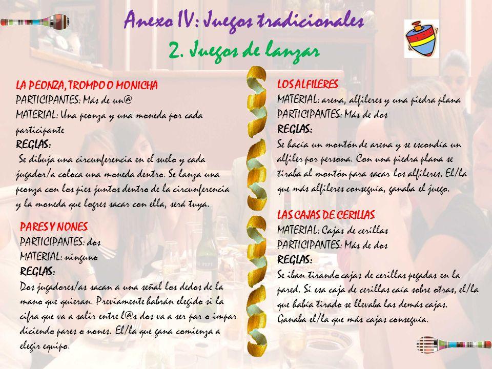 Anexo IV: Juegos tradicionales 2. Juegos de lanzar LA PEONZA, TROMPO O MONICHA PARTICIPANTES: Más de un@ MATERIAL: Una peonza y una moneda por cada pa