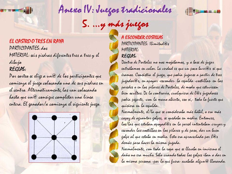 Anexo IV: Juegos tradicionales 5. …y más juegos EL CASTRO O TRES EN RAYA PARTICIPANTES: dos MATERIAL: seis piedras diferentes tres a tres y el dibujo