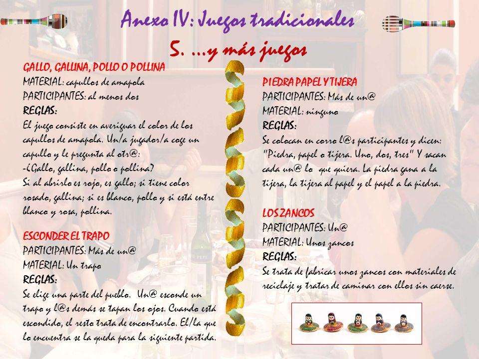 Anexo IV: Juegos tradicionales 5. …y más juegos ESCONDER EL TRAPO PARTICIPANTES: Más de un@ MATERIAL: Un trapo REGLAS: Se elige una parte del pueblo.