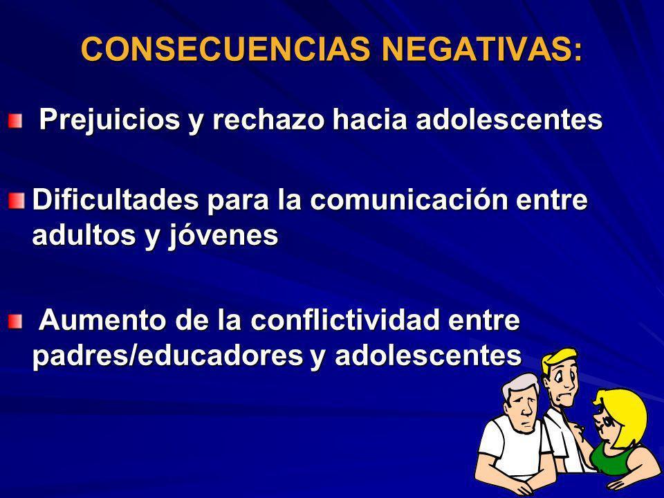 CONSECUENCIAS NEGATIVAS: Prejuicios y rechazo hacia adolescentes Prejuicios y rechazo hacia adolescentes Dificultades para la comunicación entre adult