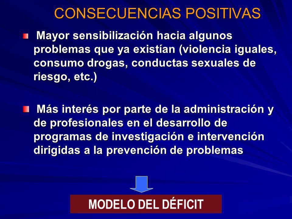 CONSECUENCIAS POSITIVAS Mayor sensibilización hacia algunos problemas que ya existían (violencia iguales, consumo drogas, conductas sexuales de riesgo