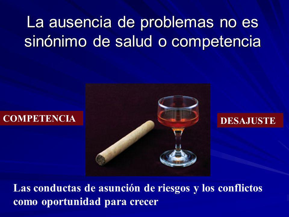 La ausencia de problemas no es sinónimo de salud o competencia COMPETENCIA DESAJUSTE Las conductas de asunción de riesgos y los conflictos como oportu