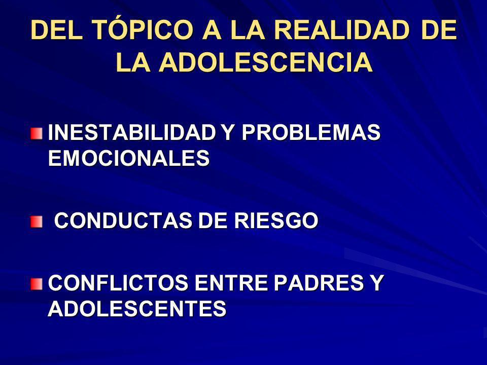 DEL TÓPICO A LA REALIDAD DE LA ADOLESCENCIA INESTABILIDAD Y PROBLEMAS EMOCIONALES CONDUCTAS DE RIESGO CONDUCTAS DE RIESGO CONFLICTOS ENTRE PADRES Y AD