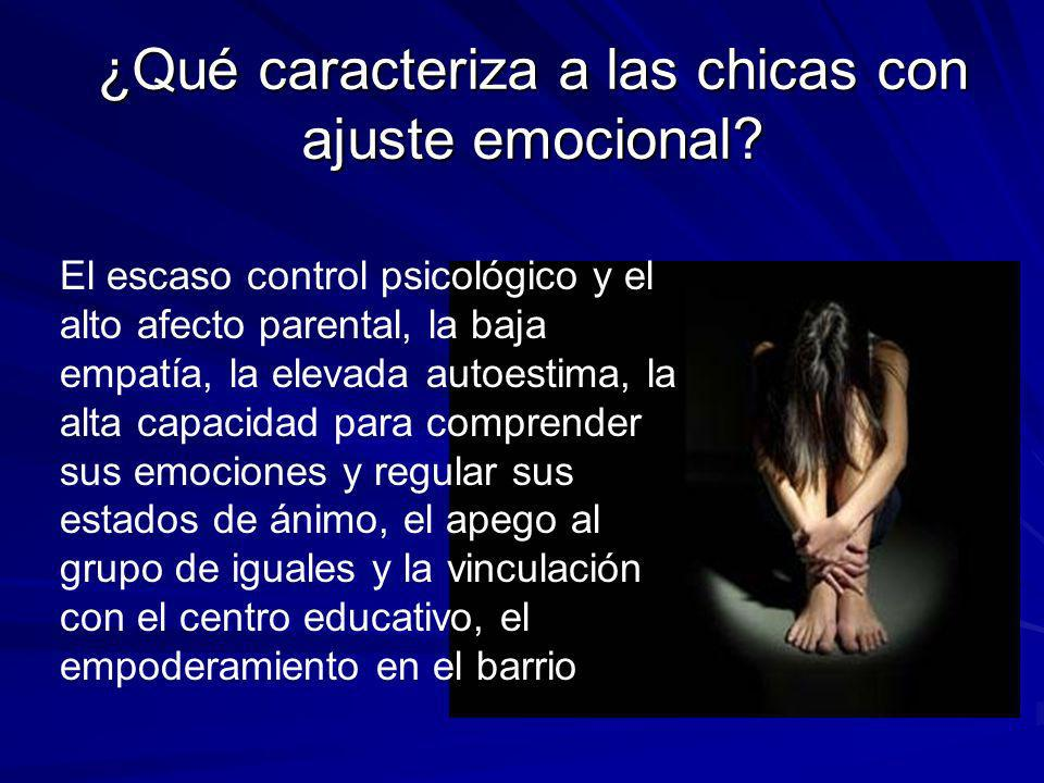 ¿Qué caracteriza a las chicas con ajuste emocional? El escaso control psicológico y el alto afecto parental, la baja empatía, la elevada autoestima, l