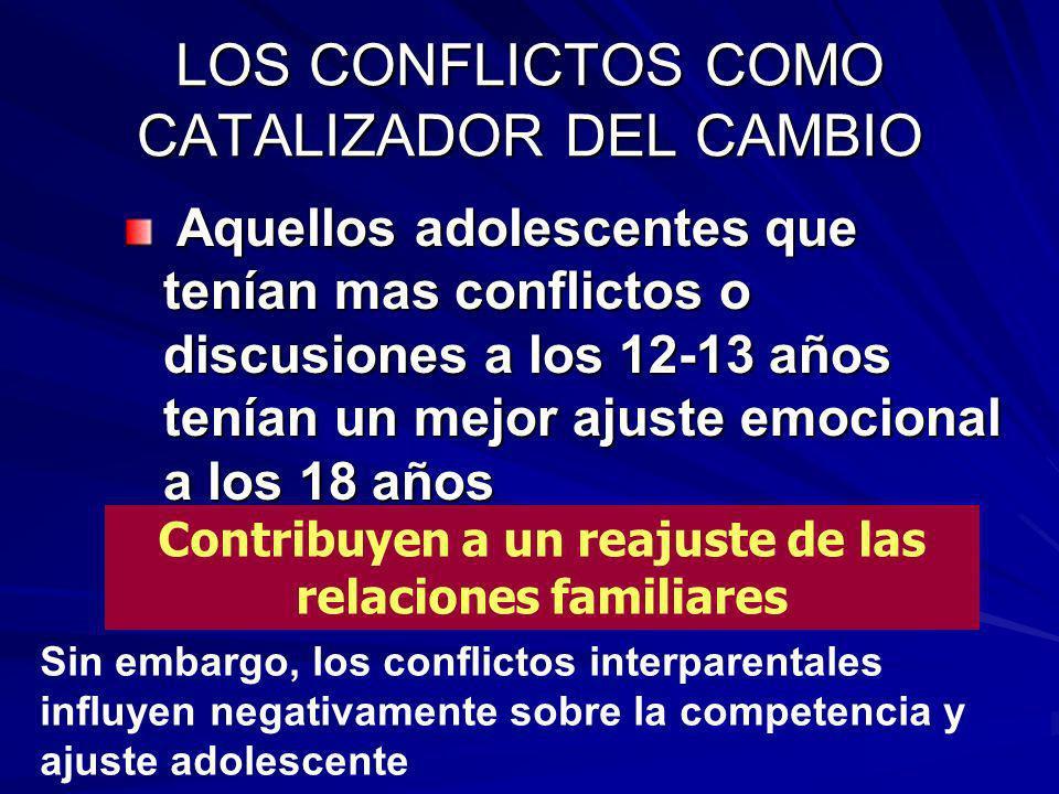LOS CONFLICTOS COMO CATALIZADOR DEL CAMBIO Aquellos adolescentes que tenían mas conflictos o discusiones a los 12-13 años tenían un mejor ajuste emoci
