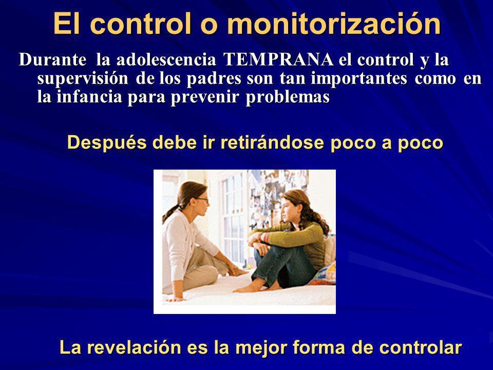 El control o monitorización Durante la adolescencia TEMPRANA el control y la supervisión de los padres son tan importantes como en la infancia para pr