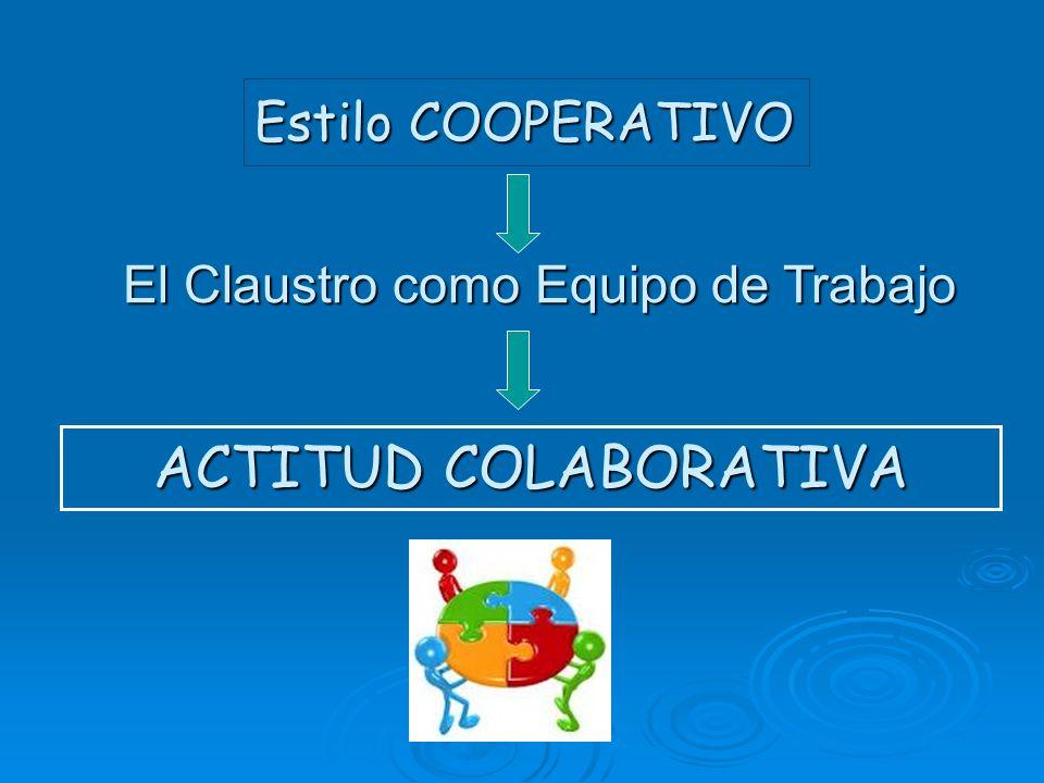 Estilo COOPERATIVO El Claustro como Equipo de Trabajo ACTITUD COLABORATIVA