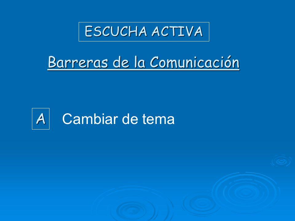 ESCUCHA ACTIVA Cambiar de tema A Barreras de la Comunicación