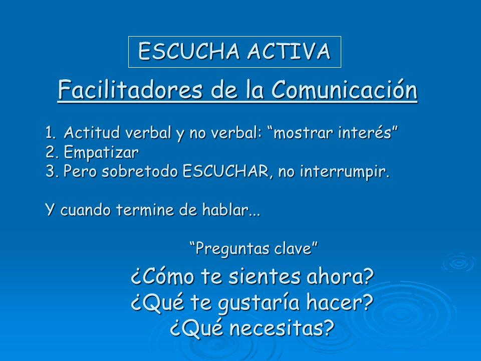 Facilitadores de la Comunicación ESCUCHA ACTIVA 1.Actitud verbal y no verbal: mostrar interés 2. Empatizar 3. Pero sobretodo ESCUCHAR, no interrumpir.