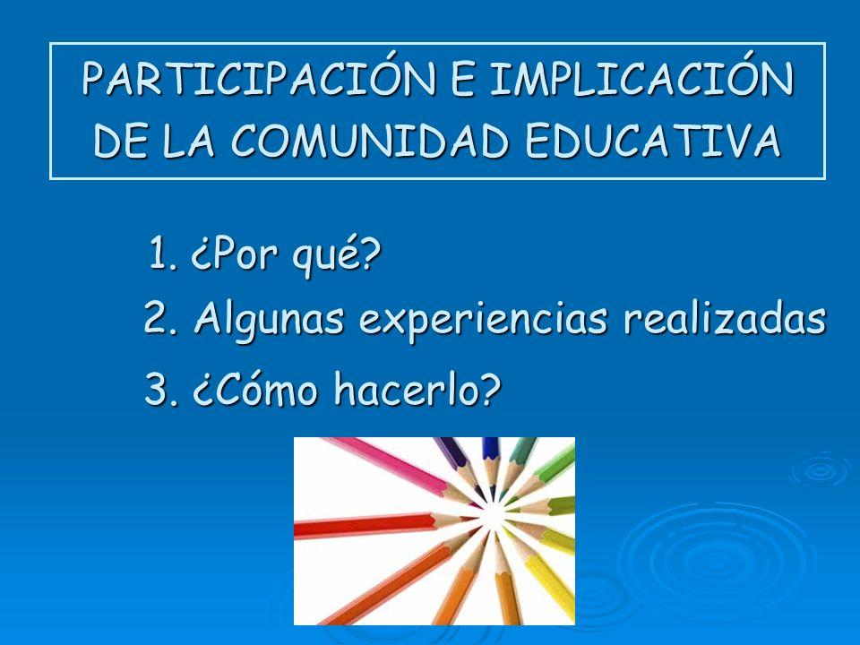 PARTICIPACIÓN E IMPLICACIÓN DE LA COMUNIDAD EDUCATIVA 1. ¿Por qué? 2. Algunas experiencias realizadas 3. ¿Cómo hacerlo?