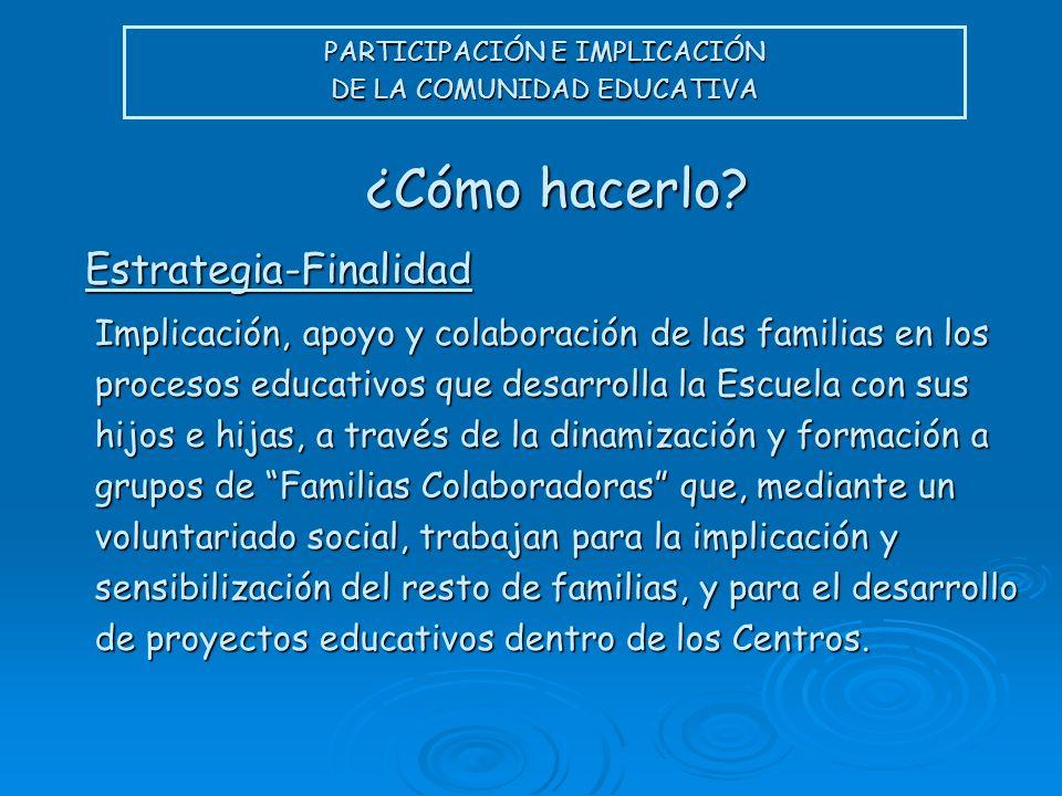 PARTICIPACIÓN E IMPLICACIÓN DE LA COMUNIDAD EDUCATIVA ¿Cómo hacerlo? Implicación, apoyo y colaboración de las familias en los procesos educativos que