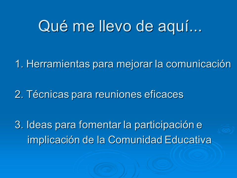 Qué me llevo de aquí... 1. Herramientas para mejorar la comunicación 2. Técnicas para reuniones eficaces 3. Ideas para fomentar la participación e imp