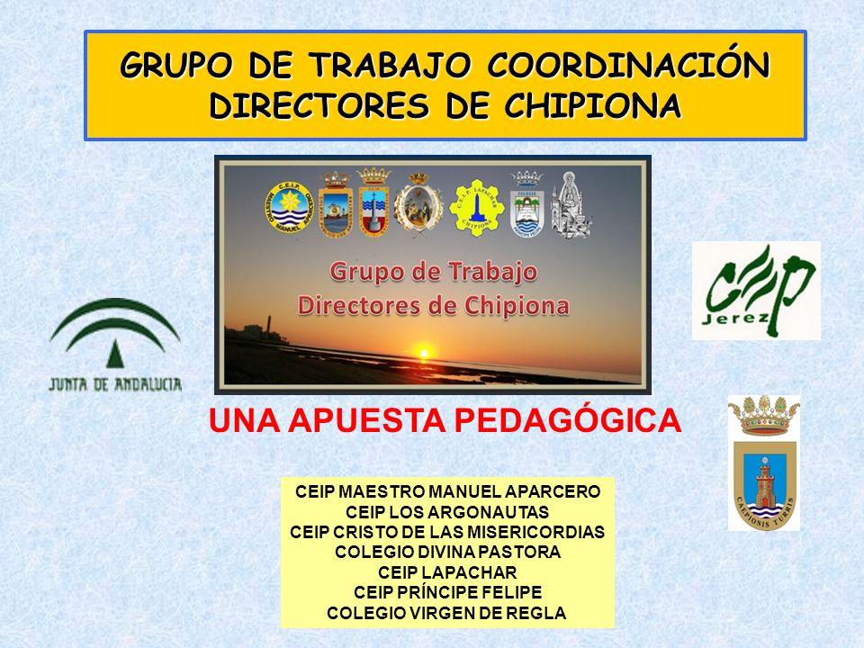 GRUPO DE TRABAJO CREADO EN EL CURSO 2001- 02 PARTICIPAN LOS CENTROS DE INFANTIL Y PRIMARIA DE CHIPIONA PÚBLICOS Y CONCERTADOS ASESORAMIENTO DEL CEP DE JEREZ REUNIONES MENSUALES EN CADA CENTRO PARA LA GESTIÓN Y COORDINACIÓN DE LOS EQUIPOS DIRECTIVOS HA SERVIDO DE MODELO PARA LA COORDINACIÓN EN OTRAS LOCALIDADES Y PROVINCIAS UNA APUESTA PEDAGÓGICA DIFERENTE Y ÚTIL GRUPO DE TRABAJO COORDINACIÓN DIRECTORES DE CHIPIONA UNA APUESTA PEDAGÓGICA