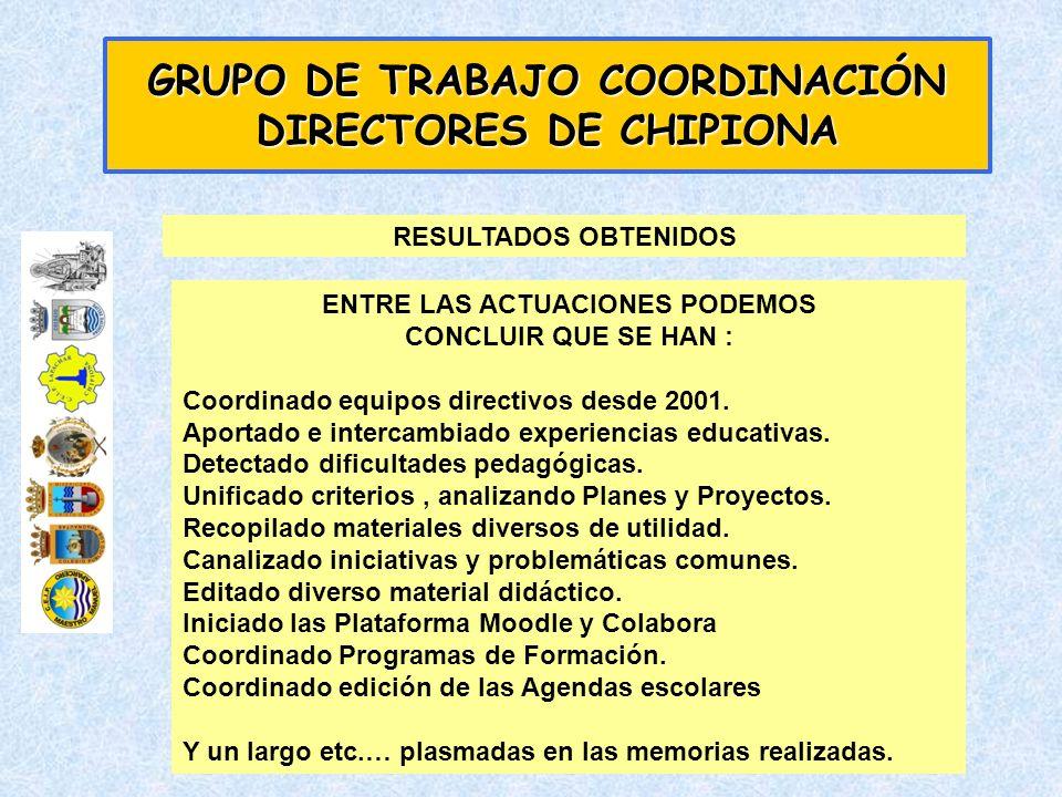 ENTRE LAS ACTUACIONES PODEMOS CONCLUIR QUE SE HAN : Coordinado equipos directivos desde 2001. Aportado e intercambiado experiencias educativas. Detect